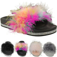 womens rainbow fluffy fuzzy faux fur slide slip on sandals various