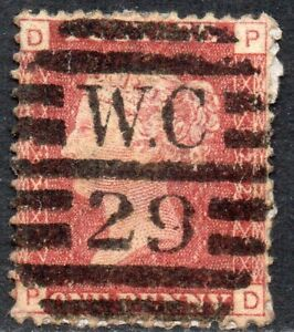 1869-Sg-43-1d-rose-red-039-PD-039-Plate-122-with-London-Duplex-Cancellation-Good-Used