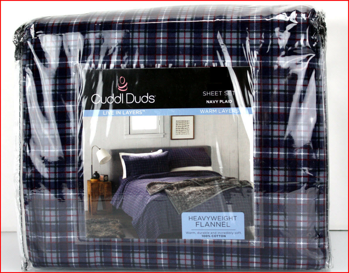 Cuddl Duds Heavy Weight 100% Cotton FLANNEL Sheet Set - Navy Blau Plaid NEW