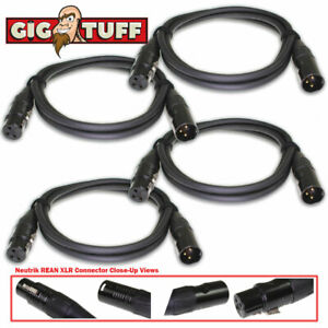 4-pack Gig Tuff 5 Ft (environ 1.52 M) Tour Pro Microphone Câble Neutrik Rean Xlr Awg 20 Ofc 6.5 Mm-afficher Le Titre D'origine Couleurs Harmonieuses