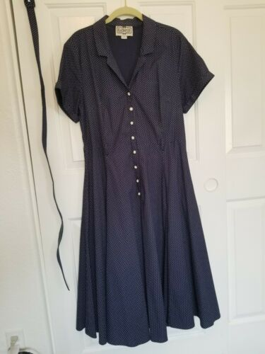 """Collectif """"Caterina"""" Dress Navy and White Polka Do"""