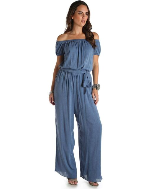 473ad167784d Wrangler Women s Blue Denim Wide Leg Jumpsuit - LW6812B L Large for ...
