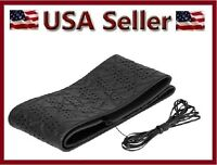Black Professional Vinyl Lace-on Steering Wheel Cover Cushion / Cushioned