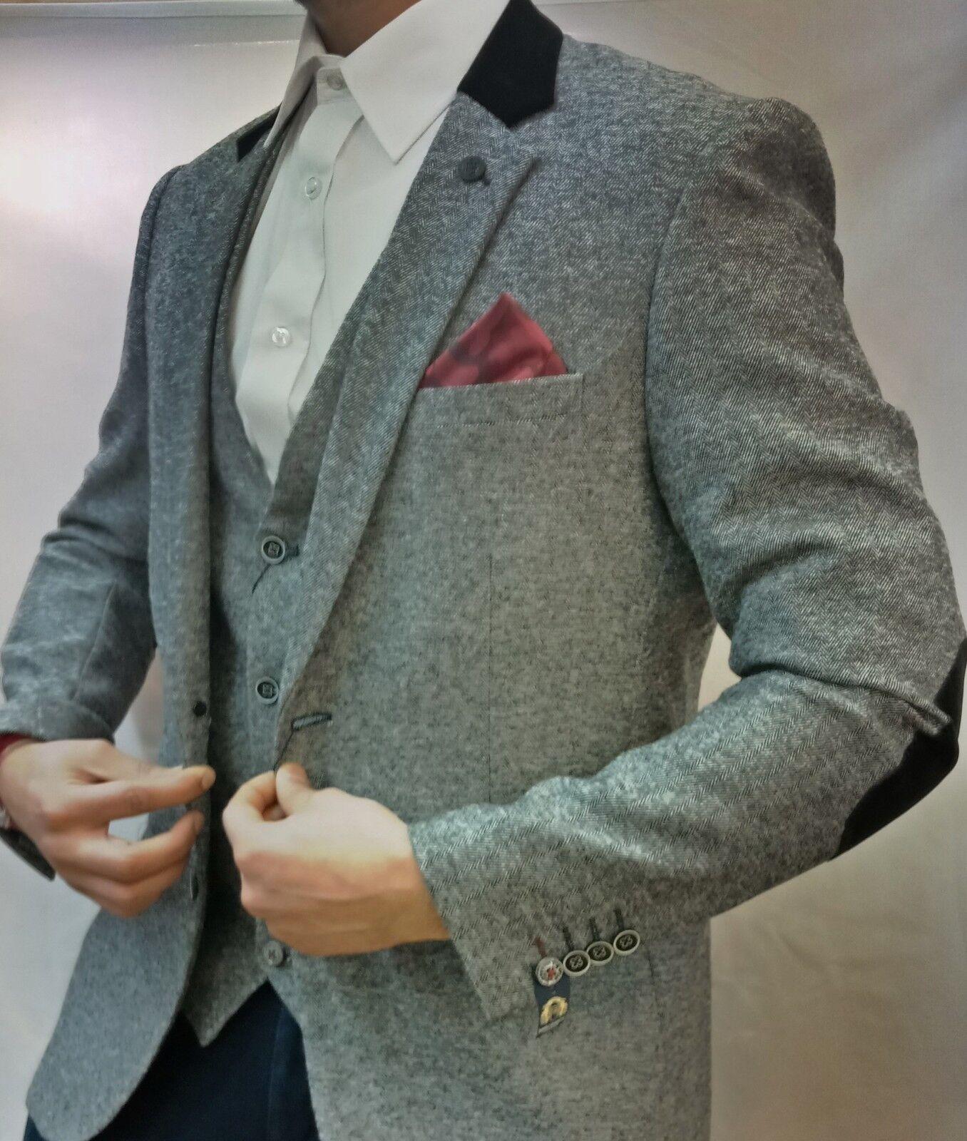 Men's Marc Darcy Designer Victor Grey Tweed Herringbone Three (3) Piece Suit