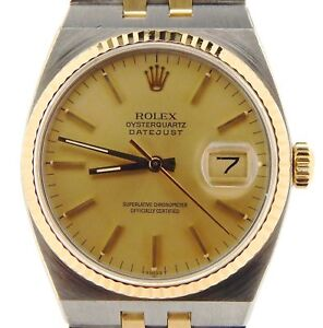 2853e093171f Image is loading Rolex-Datejust-Oysterquartz-17013-Steel-18K-Yellow-Gold-
