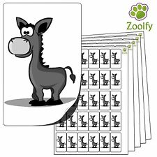 480 Donkey Stickers (38 x 21mm) Quality Self Adhesive Animal Labels By Zooify.