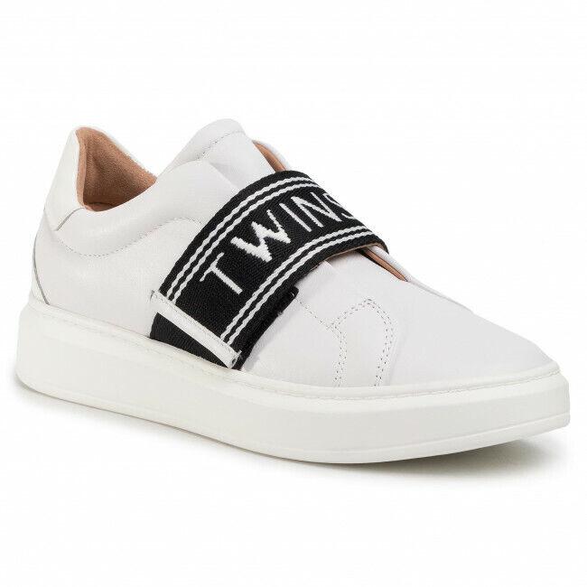 Schuhe Twinset Frau Turnschuhe 201TCP134 Weiß Optische Neu Original Leder