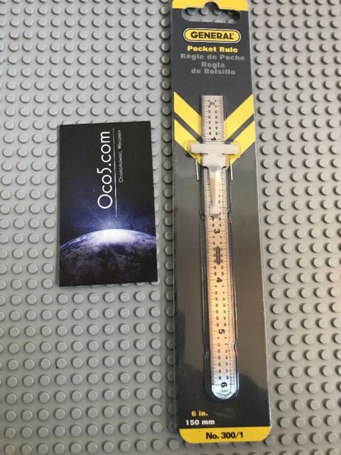 General Tools 300/1 Six Inch Stainless Steel Pocket Ruler with Depth Gauge 150mm