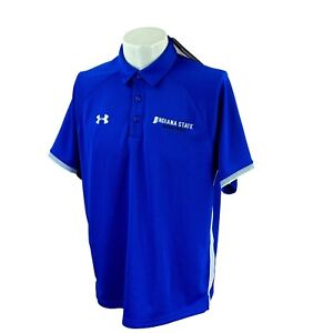 Under Armour Men's Loose Heat Gear ISU Basketball Blue Golf Polo NWT Shirt Large