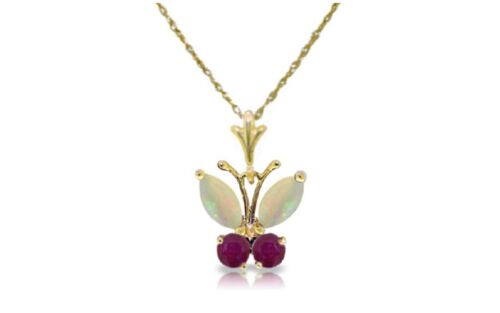 0.7 Carat 14k Solid Gold Natural Opal and Ruby Butterfly Pendant Necklace