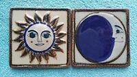 Stoneware Tiles Wall Hanging Hand Painted Mexican Sun And Moon Sol Y Luna 4x4