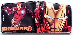 Avengers-Iron-Man-Wallet-Geldboerse-ID-Fenster-Kartenschlitz-Zip-Coin-Pocket-Robert-Downey