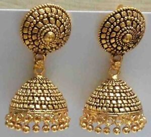 Image Is Loading Traditional 24k Gold Plated South Indian Earrings Jhumka