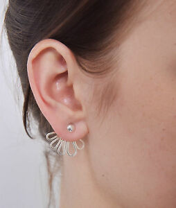 Image Is Loading Sterling Silver 925 Ear Jacket Earrings Front Back