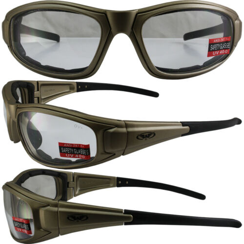ZILLA PLUS PADDED MOTORCYCLE RIDING GLASSES GOLD FRAME CLEAR LENS