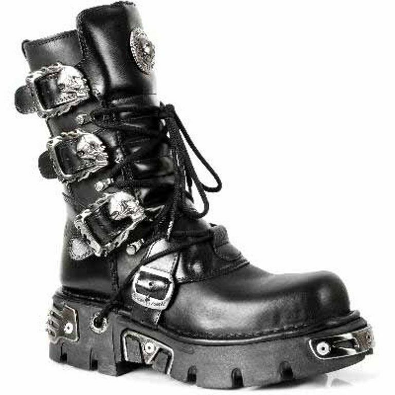New Rock 391-S1 Black Metallic Reactor Goth Biker Unisex black Classic Boots