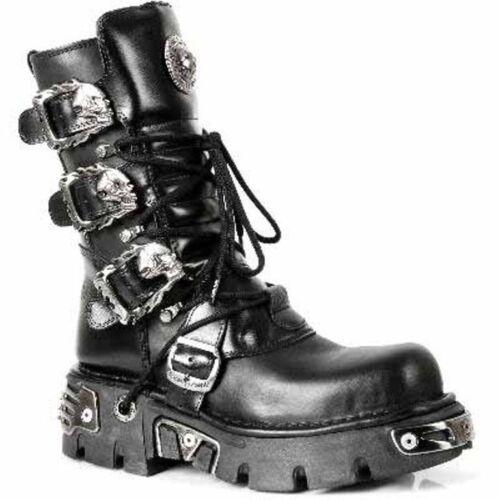Negro Metallic Goth Biker New Black Boots Rock Unisex 391 Reactor s1 Classic u1clFJTK3