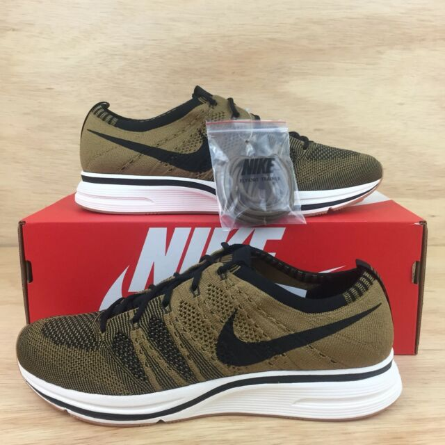 check out 8dddc f9aed Nike FlyKnit Trainer Running Mens SZ 9.5 Light-Weight Gold Beige Black New