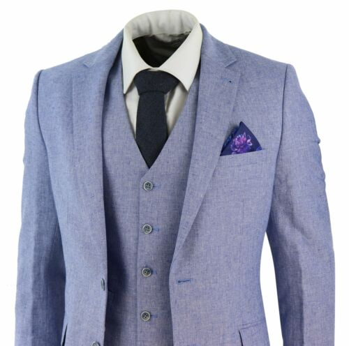 Mens 3 Piece Suit Summer Suit Linen Cotton Blue Short Reg Long Wedding Slim Fit