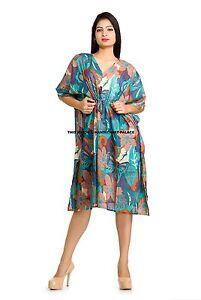 feb0be72953 Women s New Floral Caftan Beach Wear Short Dress Cotton Casual ...