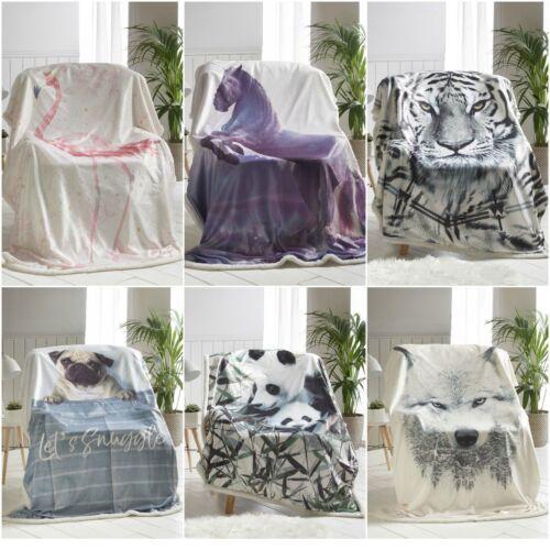 Imprimé Animal Design Luxe Couverture Polaire Doux Sherpa Chaud Maison Sofa Jeté De Lit