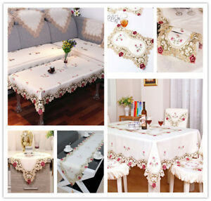 White-Embroidered-Flower-Lace-Dining-Table-Runner-Tablecloth-Party-Wedding-Decor