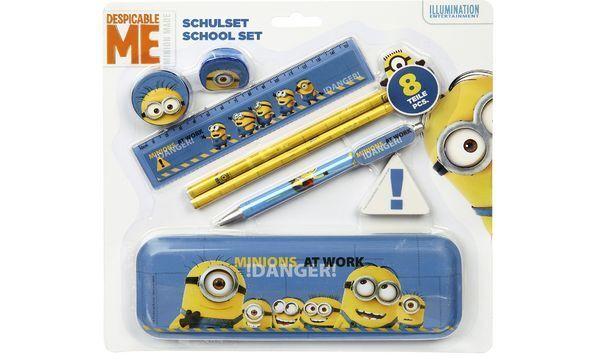 Schreibset Minions 8-teilig Schulset Bleistift Lineal Radierer Spitzer SchoolSet