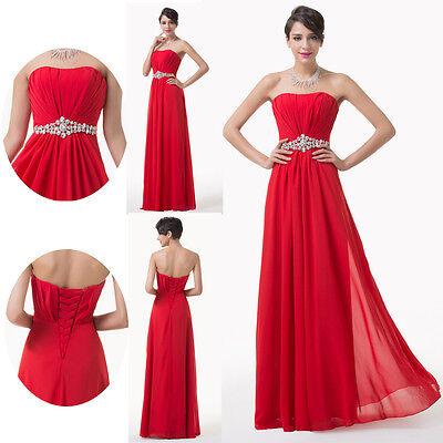 RED Chiffon Bridesmaid Wedding Grad Dress Formal Party Evening Long Prom Dresses