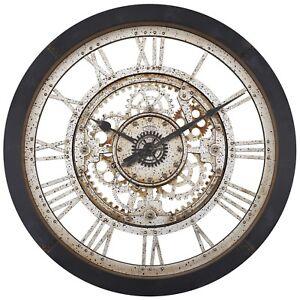 Industrial Large Antique Gear Wall Clock Vintage Black Quartz