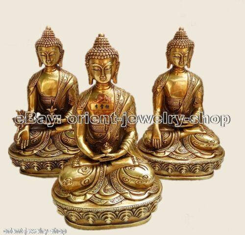 Tantric Amitabha Shakyamuni Buddha Pure Copper Dragon statue 3pc set