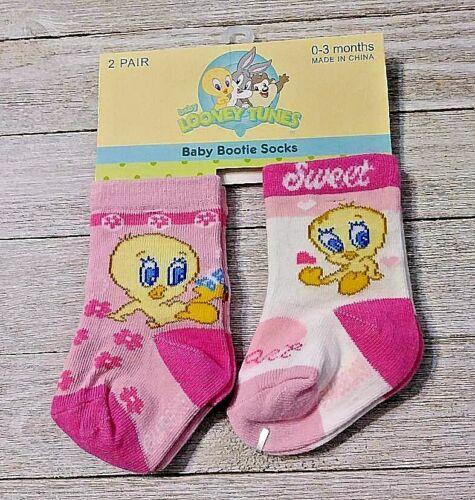 Tweety booties socks 2 pair size 0-3 months nwt