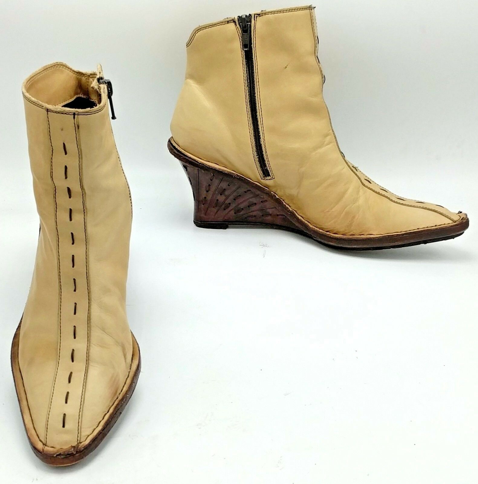 YOSUKE YAJIMA Neutral Leather Boots Wedge Womens Handmade Italy Ankle 38M