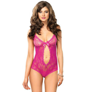 f013678d6ee Leg Avenue Keyhole Cut Out Teddy UK 8 to 14 Stretch Lace G-String ...