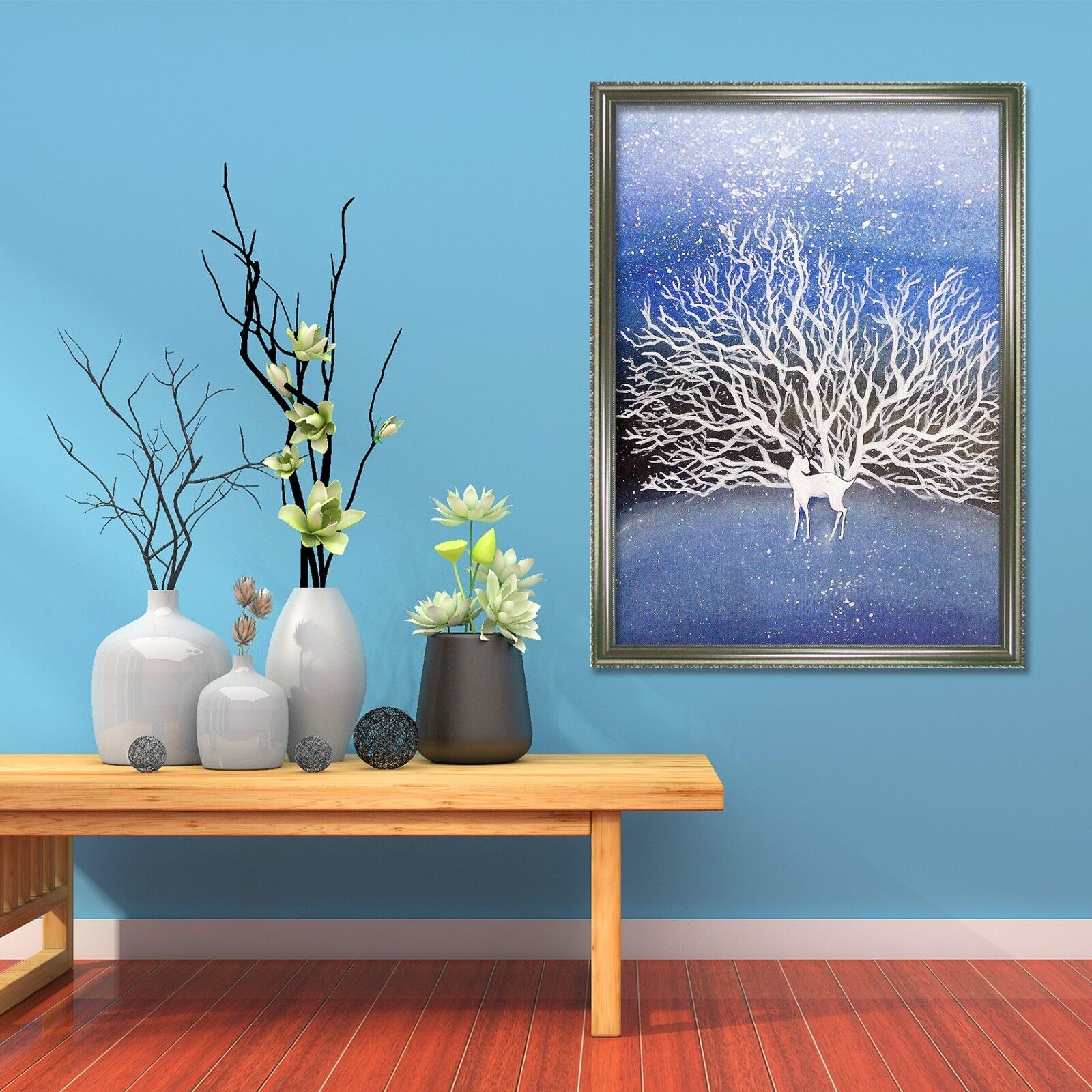 3D Weiß Branches 47 Framed Poster Home Decor Print Painting Art AJ UK