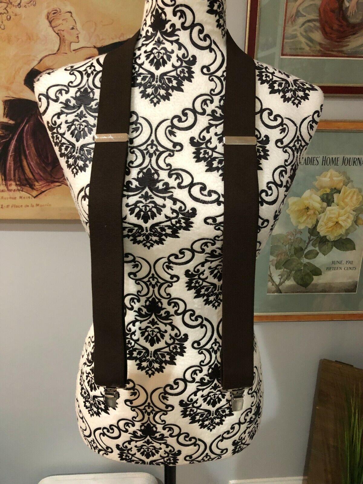 Men's Brown Clip On Suspenders