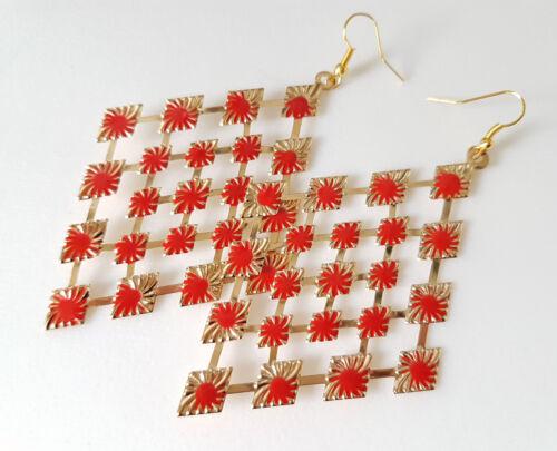 Tono Oro 9 cm de largo hermoso y Rojo Esmalte Ligero Pendientes de Forma de Diamante