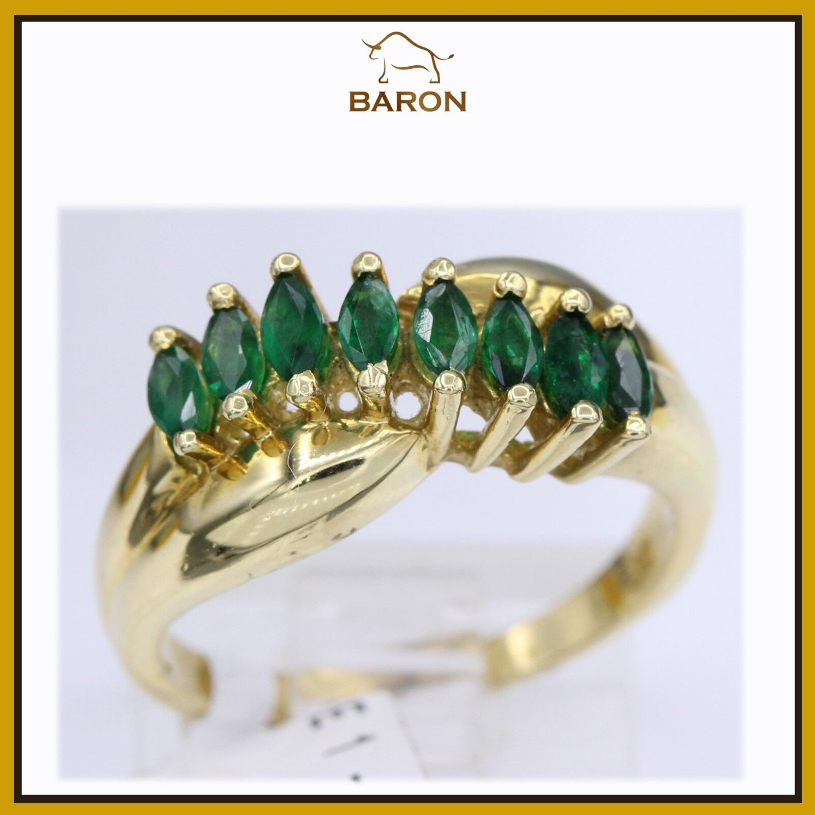 EMERALD RING VINTAGE 18K YELLOW gold MARQUISE EMERALD DIAMOND RING SIZE 6 (md30