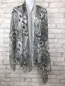 Classic Black and White Viscose Paisley Floral Shawl Scarf 66X21""