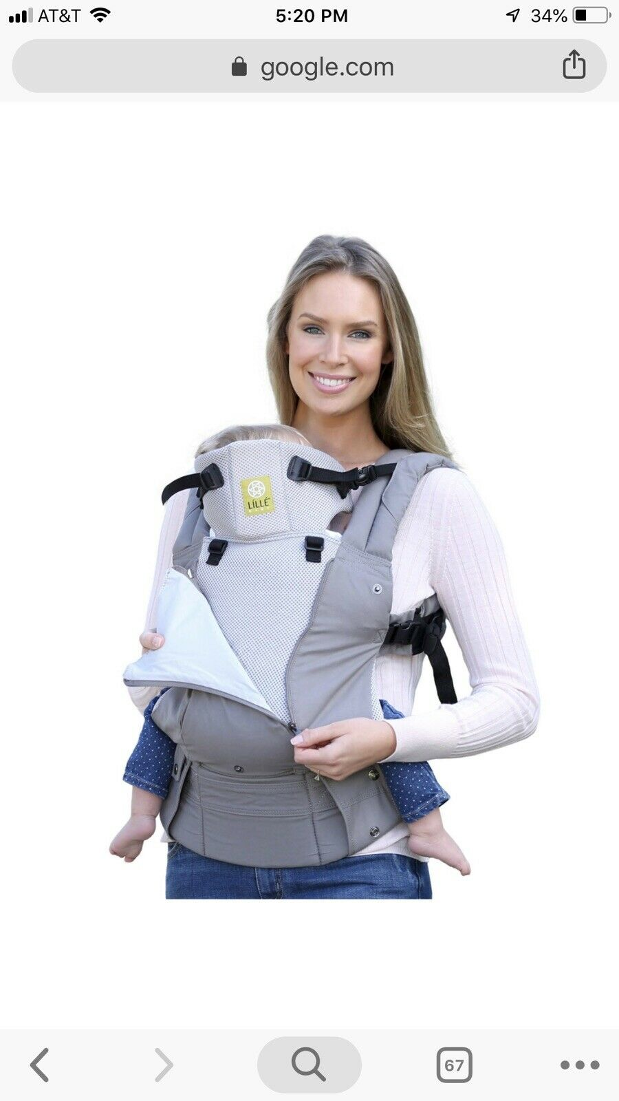 13f2c603a5e Lillebaby Complete Baby Carrier All Seasons in Stone 100 Cotton 3 D ...