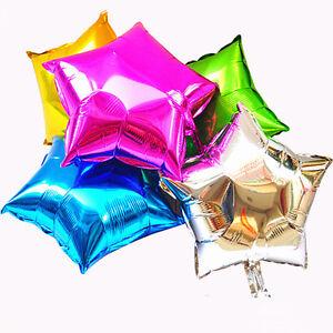 5-X-Folien-Helium-Ballons-Geburtstagsparty-Luft-Rund-Solid-Farbe-Stern-Glitz