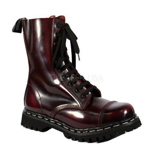 Demonia Rocky-10 Stiefel Leder Rot ROC10/BY/LE- gr. EU 45