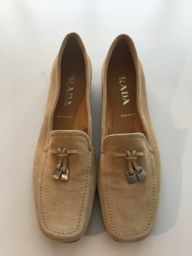 New Authentic PRADA Suede Beige Signature Tassel Details Shoes Moccasins sz 38