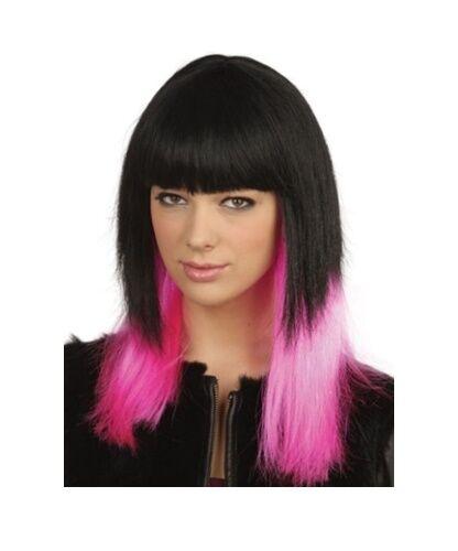 Fancy Dress Black and Pink Dip Dye Die Style Wig Hen Party Fun Pop Star Wig