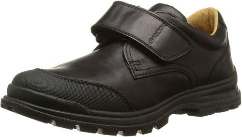 Geox Childrens Boys William J54E6A Single Strap Leather School Shoes Black