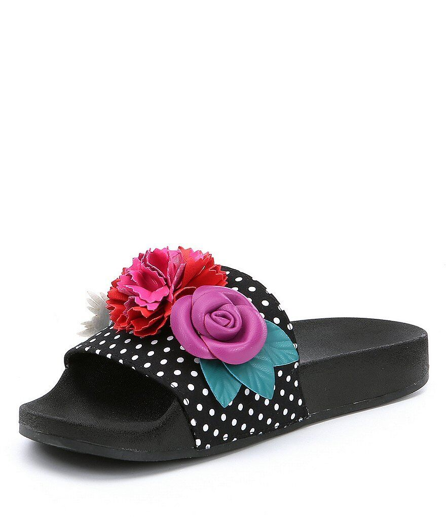 Betsey Johnson Penny Slides Dot Pattern 3D Flower Appliques Sandals Taille US 8.5