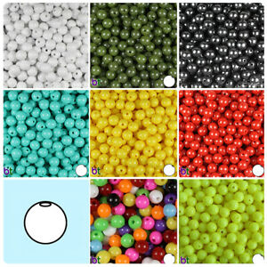 BeadTin Pearl 8mm Round Plastic Craft Beads 300pcs Color choice