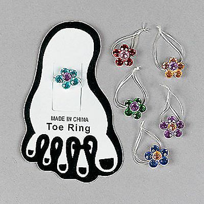 Self-Conscious Flower Toe Ring Assortment New Sealed lot Of 12 6 Different Colors
