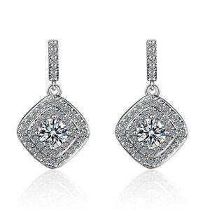 Womens-Ladies-925-Sterling-Silver-Cushion-Gemstone-Zircon-Ear-Stud-Drop-Earrings
