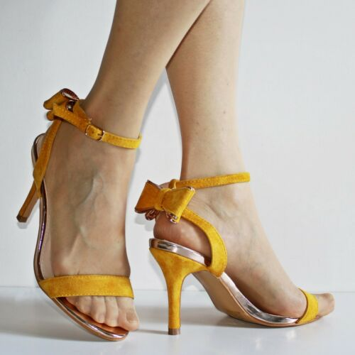 6768 Womens Ladies Party Faux Suede Bow Back Stiletto Sandals High Heels Shoes