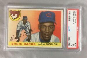 1955-TOPPS-BANKS-28-ERNIE-CUBS-CHICAGO-CARD-HOF-BASEBALL-2ND-YEAR-PSA-5-EX